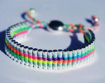 Neon Friendship Bracelet One Direction Silver Link Neon Colored Friendship Bracelet friendship Bracelet links of london