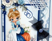Handmade all occassion card with Cinderella like image.