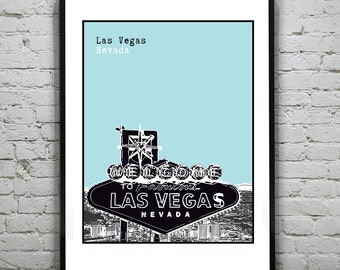 Las Vegas Sin City Art Print Poster  Original Nevada