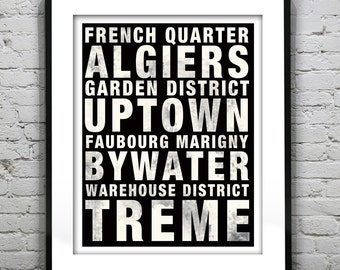 New Orleans Subway Poster Art Print Louisiana Marigny Bywater Treme Uptown Garden District