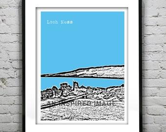 Loch Ness Poster Nessie Scotland  Art Print Skyline