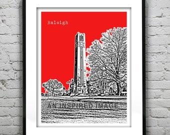 Raleigh North Carolina State Poster skyline Art Print