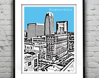 1 Day Only Sale 10% Off - Winston-Salem Art Print Poster Original North Carolina NC Version 2