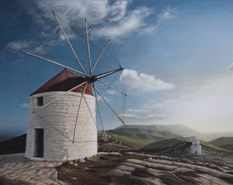 Landscape with a windmill in Amorgos island in Greece