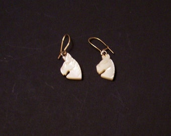 Mother of Pearl carved horsehead earrings