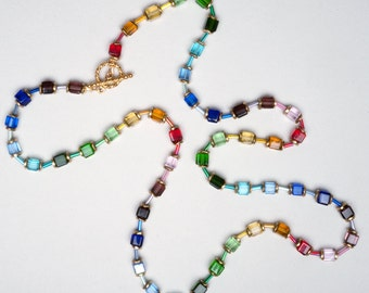 Rainbow Necklace in Crystal and Gold