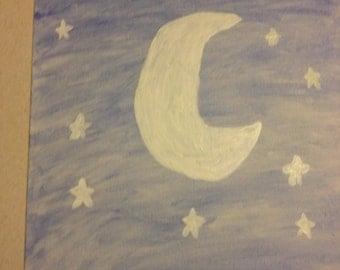 Original Moon and Stars Glow in the Dark Painting