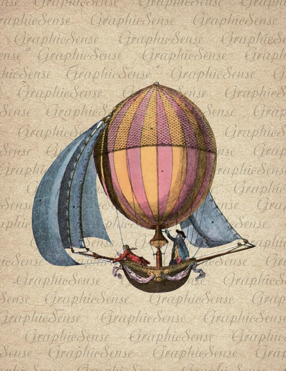 Retro Aerostat Hot Air Balloon Printable Graphics Digital