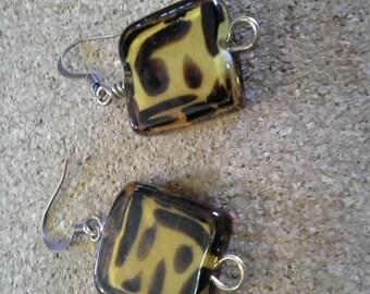 Animal Print glass bead earrings