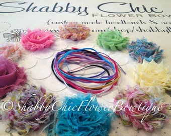 DIY Headband Kit Baby Shower Activity Station 1/8 Skinny Elastic Shabby Chic Frayed Flowers Adhesive Felt Birthday Party Favors Couture Pink