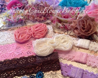 Fancy Shabby Chic DIY Headband Kit 70 Piece Creates 10 Headbands 4 Clips - Shabby Flower DIY Headband Kit: - Baby Shower Lace Upgrade