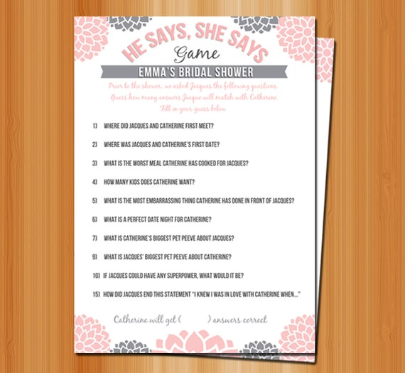 Bridal shower games he says she says printable and personalized