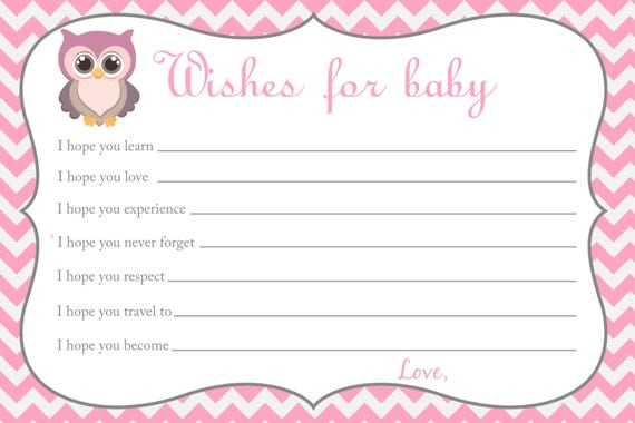 Printable chevron baby shower wishes for baby for Wishes for baby template printable