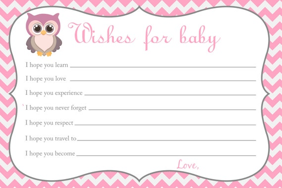 wishes for baby template printable - printable chevron baby shower wishes for baby