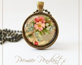 Pink and Blue Flower Necklace Pendant Vintage Image Art Jewelry 0110AGC