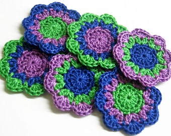 Handmade cotton flower motifs, 6 pc. appliques in blue green and purple 2 inches