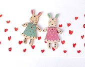 Big wooden bunnies buttons in dresses. Set of 2. rabbits, blue, pink, beige, natural, Easter, Boho, Rustic, Country. Cardmaking Valentine