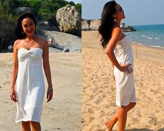 White strapless   Knee length short dress All size