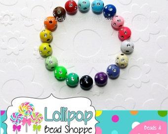 Acrylic Bling Beads, 12mm Beads, Rhinestone Beads, Round Plastic Sparkly Beads, Bubblegum Beads, Plastic Bottle Cap Beads, Pkg of 20 or 50