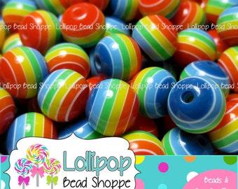 RAINBOW Beads 8mm Beads Striped Resin Beads Plastic Round Colorful Beads 25 pcs Bubblegum Beads Bubble Gum Bead Gumball Beads Bottlecap Bead