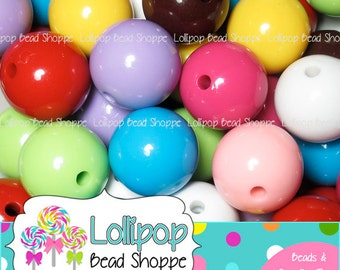 24mm GUMBALL Beads Solid Bubblegum Beads Chunky Beads Plain Round Beads Acrylic Beads MIX Gum Ball Beads Plastic Bubble Gum Beads