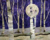 Purple moon art quilt made with hand painted fabric - FabricandStitch