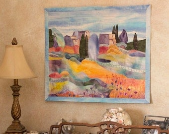 Hand painted fabric art quilt, wallhanging - My mother's blouse went to Italy