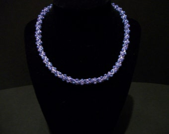 Lilac Beaded Kumihimo Necklace