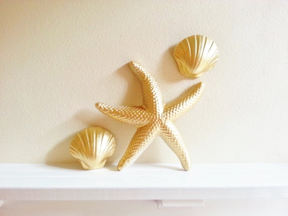 Gold Starfish Wall Decor : Items similar to starfish and seashell wall art