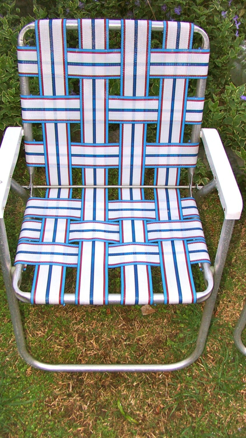 Aluminum Lawn Chairs Folding Webbed Rv Matching Pair Red