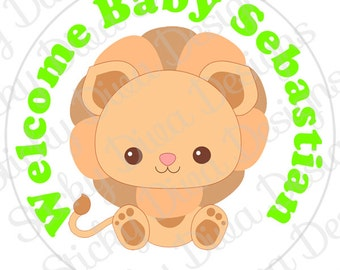 PERSONALIZED STICKERS - Custom Baby Shower Lion Cuties - Round Gloss Labels
