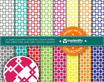 """Instant download 16 geometric """"linked squares"""" digital papers in vivid colors INSTANT DOWNLOAD"""