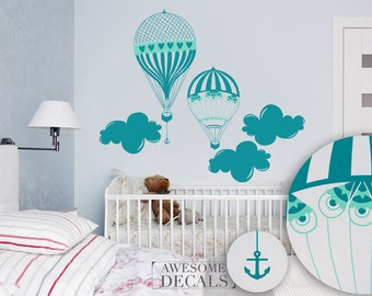 Hot Air Ballon Wall Decal - Kids Room Wall Decal - Custom Wall Art -  Nursery Wall Art - Vinyl Decals - Awesome decals / 034