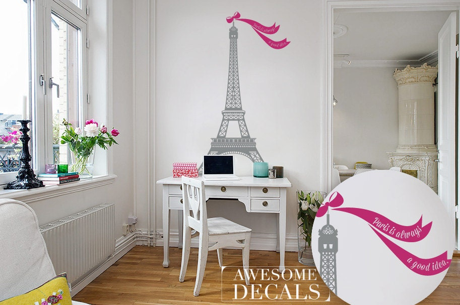 Eiffel Tower Wall Decor eiffel tower decal living room wall decoration custom