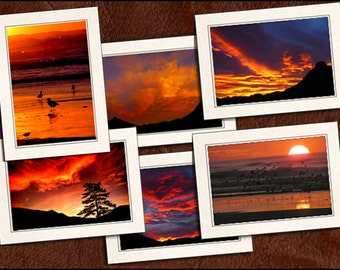 6 Sunrise Photo Note Cards & Sunset Note Cards - Note Cards - 5x7 Cards - Blank Note Cards - Sunrise Greeting Cards (GP66)