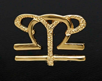 7 Aries and Libra Gold Unity Pendant