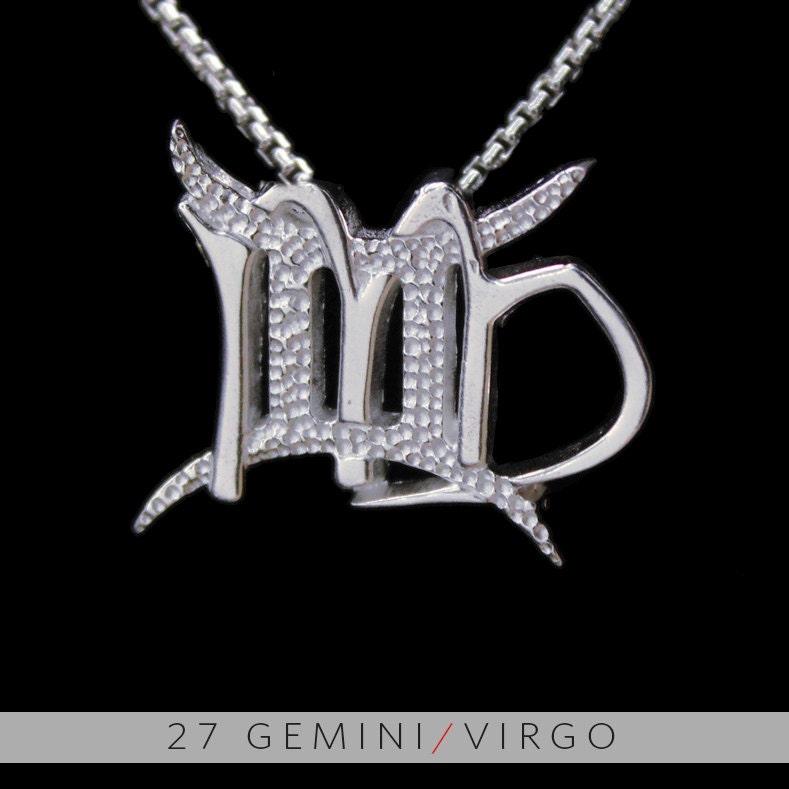 27 gemini and virgo silver unity pendant
