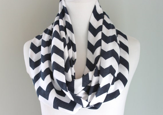 Chevron Infinity Scarf - Navy Blue Chevron Scarf - SOFT Jersey Knit  - Bridesmaid Gift