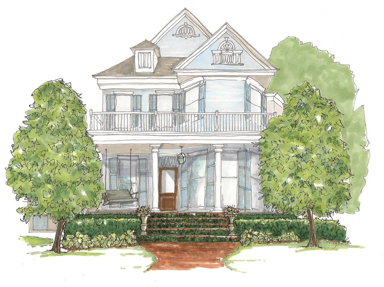 Victorian house illustrations the image for Custom victorian homes