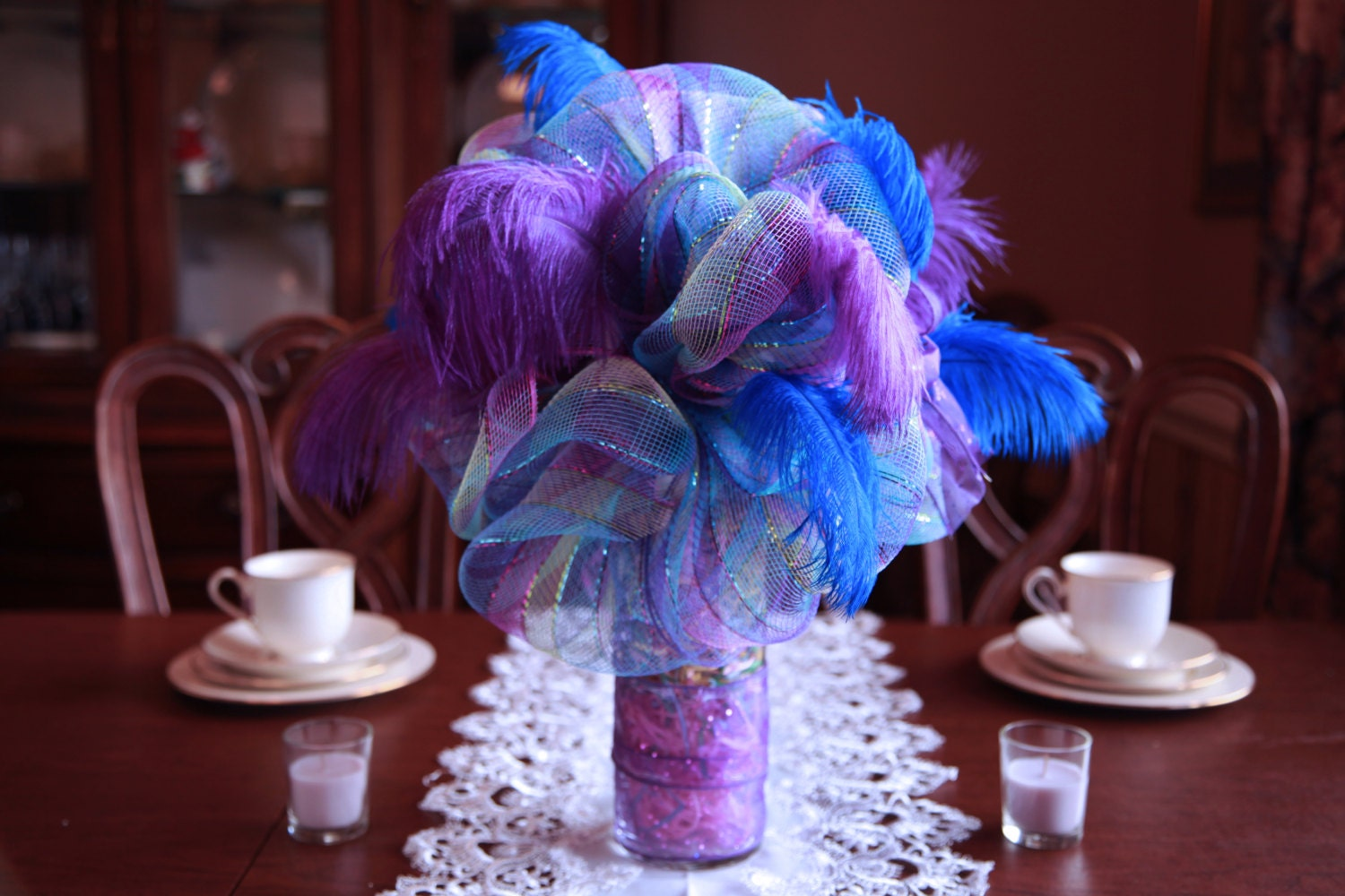 Items similar to a festive deco mesh centerpiece can be for Deco decorations