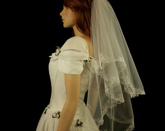 Bridal Veil with Embroidery - Lana Wedding Veil-Veil with Two Layers-Lace Veil-Cascade Veil