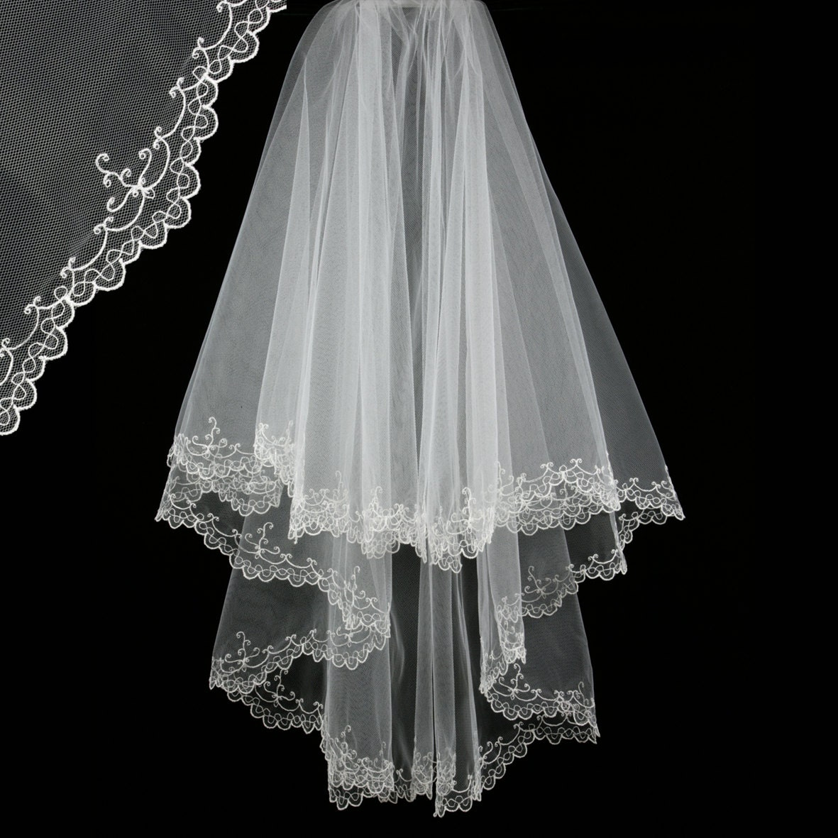 Bridal Veil With Embroidery Maya Wedding Veil-Bridal