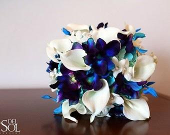 Rebecca's Bridal Bouquet Aqua Hydrangeas, Blue Violet Dendrobuim Orchids,White Calla Lilies