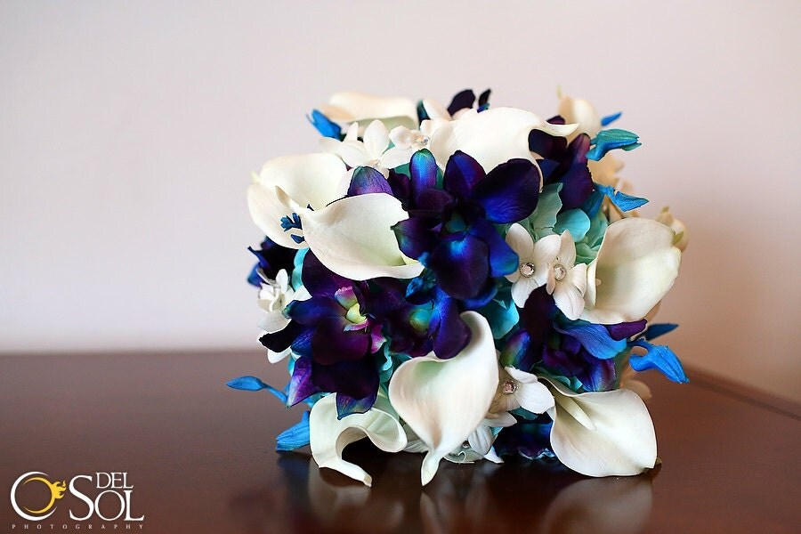 Rebecca's Bridal Bouquet Aqua Hydrangeas Blue Violet