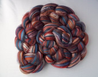 Rainbow Spinning Fiber- Merino, Tussah Silk Blend, 100g / 3.5oz