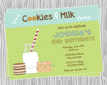 DIY - Cookies and Milk Birthday Invitation - Coordinating Items Available