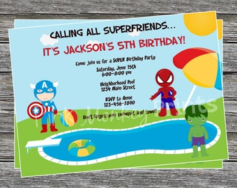 DIY - Boy Superhero Pool Party Birthday Invitation - Coordinating Items Available