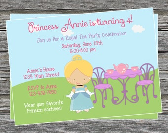 DIY - Girl Princess Tea Party Birthday Invitation - Coordinating Items Available