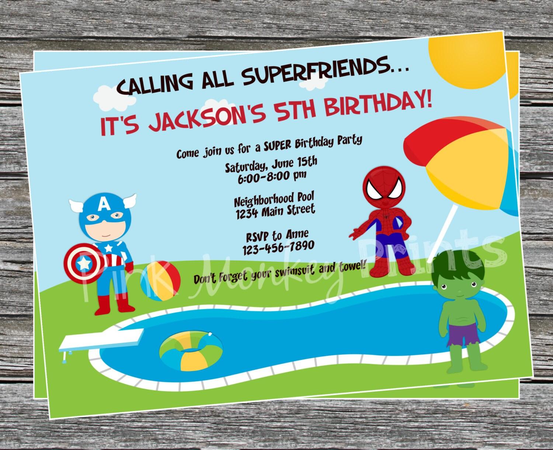 DIY Boy Superhero Pool Party Birthday Invitation – Superhero Party Invitation
