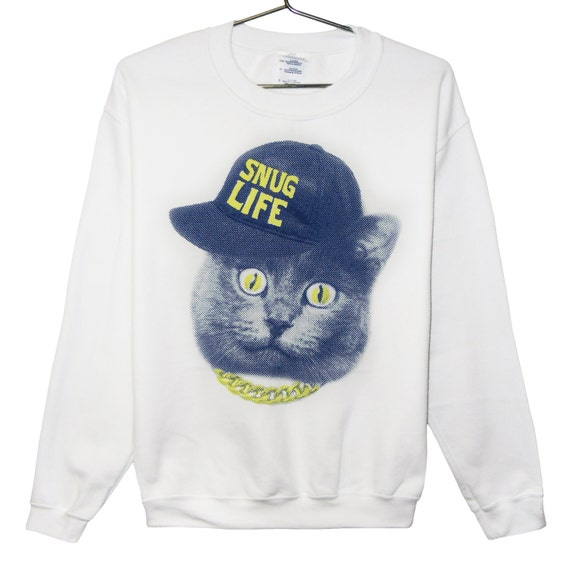Cat Sweatshirt Snug Life - Blue and Yellow on White